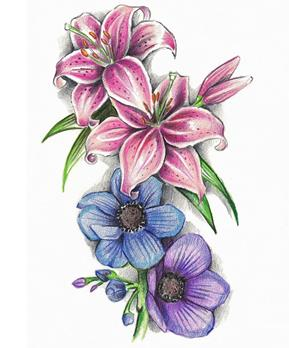 Flower Tattoo Design - see more designs on https://thebodyisacanvas.com