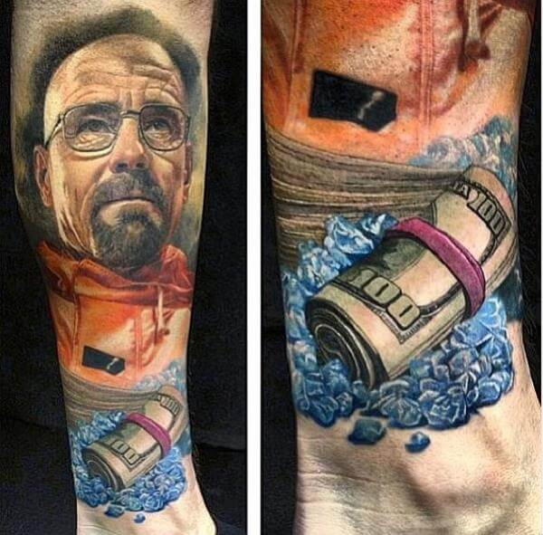 12 Amazing (or Amazingly Bad) Breaking Bad Tattoos - The Body is a Canvas #breakingbad #tattoos #tattooideas