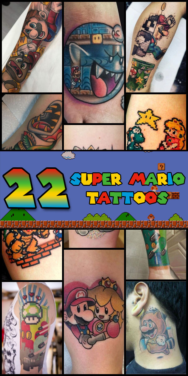 22 Super Mario Tattoos - The Body is a Canvas #SuperMario #tattoos #tattooideas